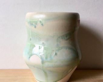 Handmade Porcelain Flower Vase with Aqua Green Crystalline Glaze