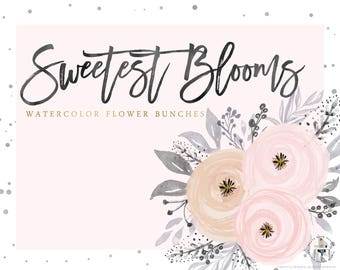 Sweetest Blooms  Watercolor Flowers Clipart, 9 Flower Bunches,  Digital Design Elements, High Resolution, Floral Clipart, PNG, Pink & Peach