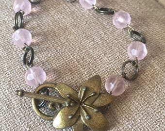 Bronzetone and Pink Bead Bracelet