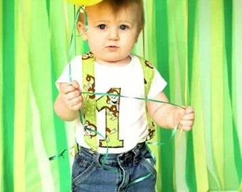 Monkey Birthday Shirt, Jeans & Suspenders: Boy party outfit, green, brown, jeans, suspenders, birhday shirt, birthday age, up-cycled