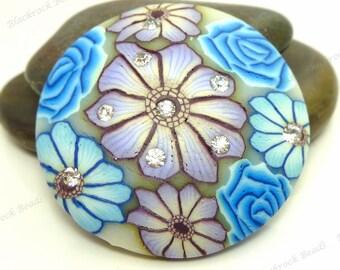 Sky Blue and Purple Violet Polymer Clay with Rhinestones Pendant - 2pcs - 38mm Round Pendants - Flower Pendants - Large Pendants - BC24