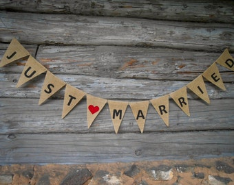 Burlap Just Married Banner Just Married Bunting Just Married Sign Wedding Banner Wedding Decor Burlap Banner Burlap Wedding Garland
