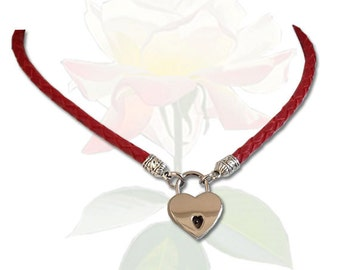 Precious Little Heart Lock BDSM Collar Red Leather Submissive BDSM Daytime Slave Collar BDSM Jewelry