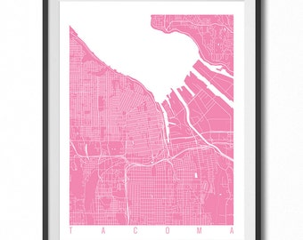 TACOMA Map Art Print / Washington Poster / Tacoma Wall Art Decor / Choose Size and Color