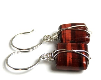 Sienna - Sterling Silver Caged Red Tigers Eye