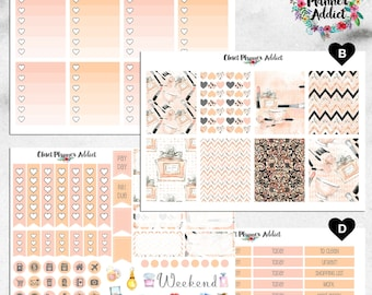 Vertical Weekly Kit Planner Stickers - Watercolour Makeup Beauty | Boxes, MDN, Icons | For Use With Erin Condren Life Planner™ (EC-013)