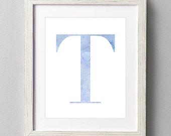 Letter T | Nursery Print | Nursery Art | Alphabet | Instant Download | Digital Print | Wall Art | Baby Boy | Initials | Blue | Watercolor