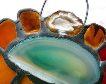 Bold Stained Glass Suncatcher Sunflower with Polished Agate Slice and Spirals