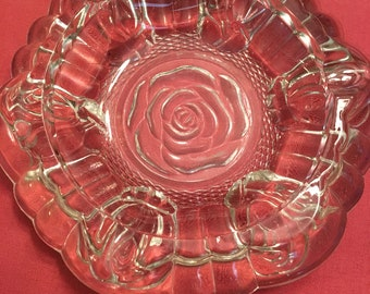 Vintage Clear Glass Crystal Ashtray Rose Design 3 Cigarette Rest Rose Design at Corners and Center - Chipped on one side (see photo)
