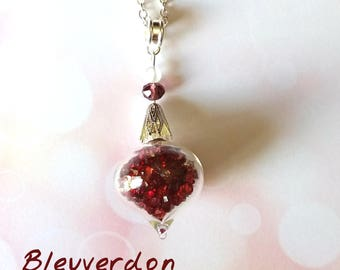 Burgundy rhinestone vial necklace