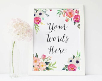 Custom Quote Print Custom print quote, custom Lyrics custom Wall custom printable Custom Typography, personalized prints, custom handwriting