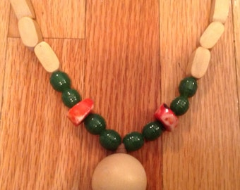 BOHO wooden,coral and glass bead long necklace