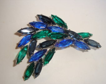 Vintage Tiered Sapphire Blue and Emerald Navette Brooch