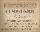 Bucktooth Sally's Speakeasy Card Printable Sign Prohibition Roaring 20s Style Art Deco Gatsby Party Wedding Centerpiece Bar Front Door Sign