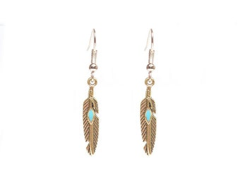 Gold/Turquoise Feather Dangle Earrings