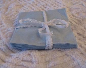 Set of 12 Blue Flannel Squares in 6 inch size for Quilts or Crafts
