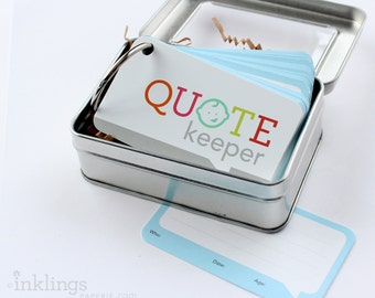Quote Keeper Ring with Cards // Sky Blue // Quote journal, baby sprinkle gift, baby shower, baby book, baby album, new mom gift, quotekeeper