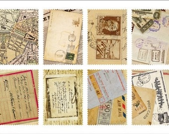 Retro Stamp Sticker Set - Ver. 3 - Vol. 7 Vintage Letter - 2 Sheets - 16 Pcs - no discount