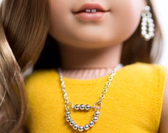 One SET of Matching Necklace and Ear Dangles Earrings Silver Beads 18 inch American Girl Doll