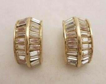 Vintage Kenneth Lane Sparking Baguette Rhinestone Earrings