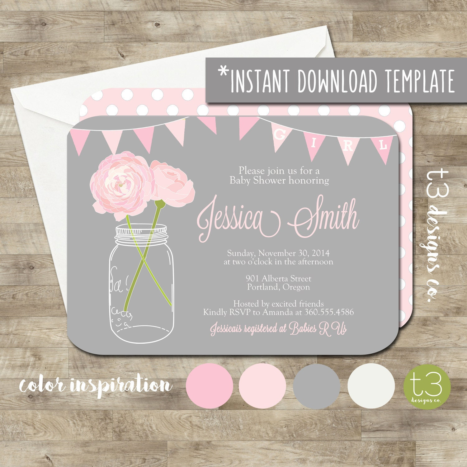 BABY GIRL Baby Shower Invitation, Instant Template, baby shower ...