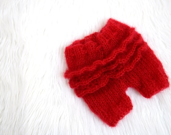 Handknit red mohair ruffle bottom short pants, diaper cover, knit newborn photo prop - made to order