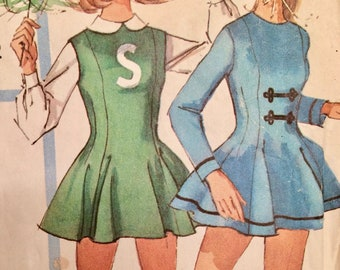 Simplicity 6203, skater, cheerleader, majorette costume, teen, 14T, bust 34, 1960's, cut, complete