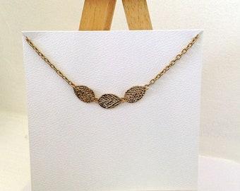 Vintage, 3 Gold Leaves Necklace, Handcrafted