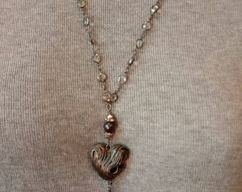 Heart's Passion.  LOVE this wire heart, freshwater pearls and rhinestone cross, Swarovski crystal & links necklace, OOAK, assemblage