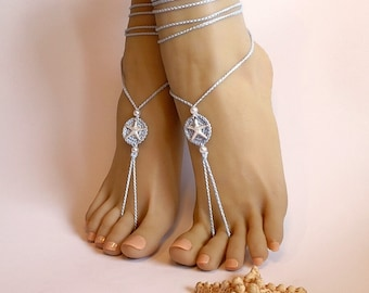 Blue barefoot sandals, Feet jewelry, Beach Wedding Barefoot Sandals, Footless sandals, Anklet starfish, Boho barefoot sandals