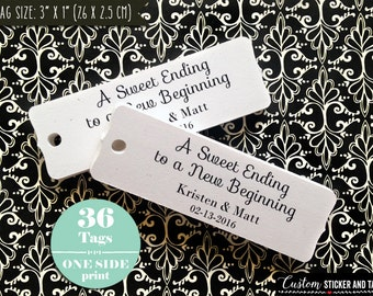a sweet ending to a new beginning tags, rectangular bracket, personalized wedding tag, candy buffet tag, favor tag, custom tags (T-96)