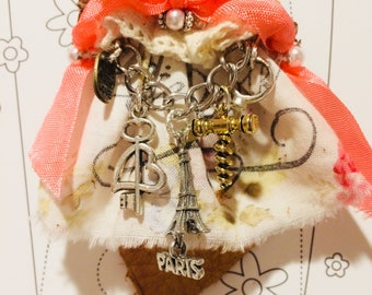 Handmade Fabric Leather Shabby Ornament Christmas