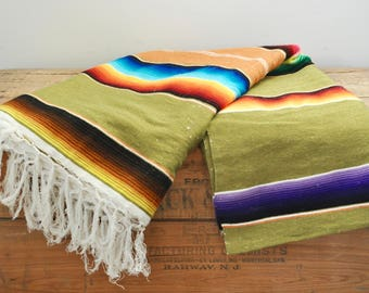 """Vintage Mexican Serape Southwestern Blanket 44"""" by 81"""" Multi Colored Variegated Stripes Colorful Hand Woven Blankets"""