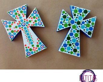 Mdf crosses decorated in pointillism art