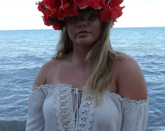 Hibiscus Red Tropical Flower Crown