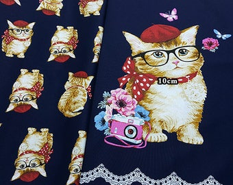 kokka Oxford kawaii glasses cat animal fabric - 60cm