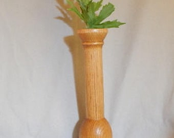 Mothers Day gift, gift for women, wooden bud vase, wooden bud vase hand turned from butternut wood, wooden bud vase with glass tube insert