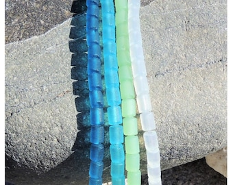 Perles tube cultured sea glass, verre recyclé  6x4 mm, 36 Pcs