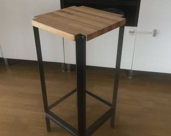 Industrial Stool from Oak, Ash & Angle Iron (Free Shipping)