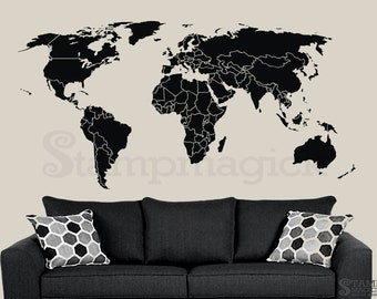 World map wall decal countries border wall art sticker world map wall decal countries outlines boundaries wall art sticker borders vinyl or chalkboard black white board k295 gumiabroncs Gallery
