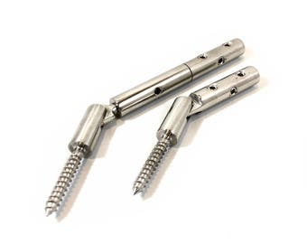 """Custom Turnbuckle Tensioner Toggle Set with Lag Screw for 1/8"""" Cable - T316 SS"""