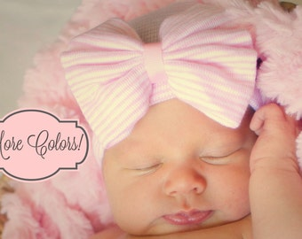 Newborn photo prop hat, newborn hat for photo prop, baby girl bow hat for photo prop
