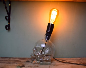 RARE Upcycled Crystal Head Vodka Lamp, Skull Lamp, Glass Lamp, Statement Piece
