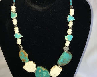 Beachy Chic Blue and White Turquoise Slab and Puka Shell Necklace
