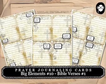 Prayer Journaling - Big Elements #10 - Bible Verses #1 - 3  Page Instant Download - scripture art, bible journaling kit, printable verses