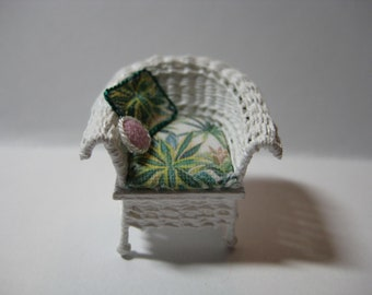 Quarter scale miniature wicker chair