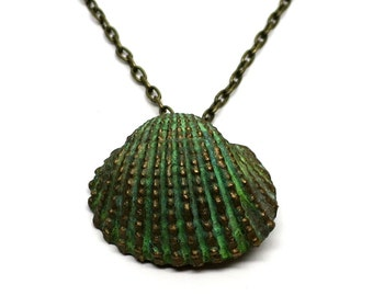 Pendant Necklace, Seashell, Polymer Clay with Brass Patina