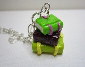 Book Stack Necklace (Green)