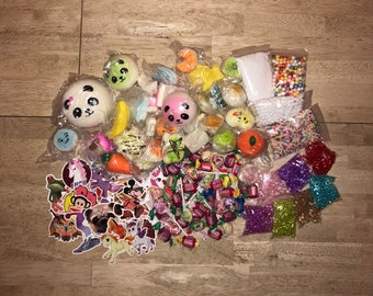 Slime Extras Slow Rising Squishy Extra Beads Foam Balls Slushee Squishies Glitter Stickers Stress Relief #CheapSlime