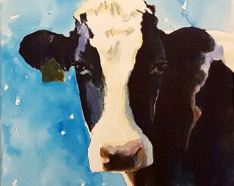 Holstein Cow original acrylic painting on canvas 12 x 12 x .5 inches Black and White cow Cow painting Cow canvas Cow art Holstein cow art